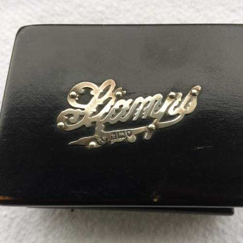 Antique Ebonised Wood and Silver Stamp Box image-2
