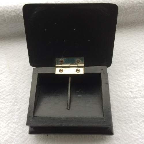 Antique Ebonised Wood and Silver Stamp Box image-3