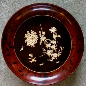 Japanese Large Lacquered Papier Mache Charger