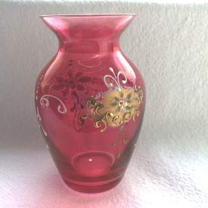 Victorian Cranberry Glass Hand Painted Vase
