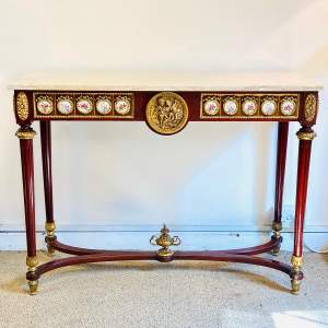 Early 20th Century Marble Top Mahogany Console Table
