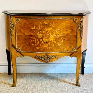 Early 20th Century Continental Inlaid Walnut Two Drawer Chest