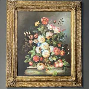 Early 20th Century Floral Still Life Oil on Canvas