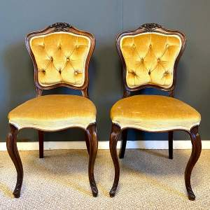 Pair of Victorian Rosewood Upholstered Salon Chairs
