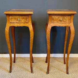 Pair of Inlaid Continental Bedside Tables