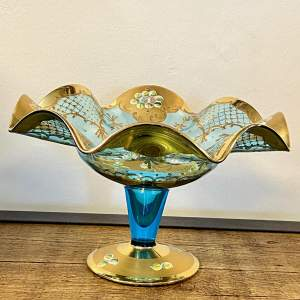 Victorian Blue Glass and Gilt Tazza