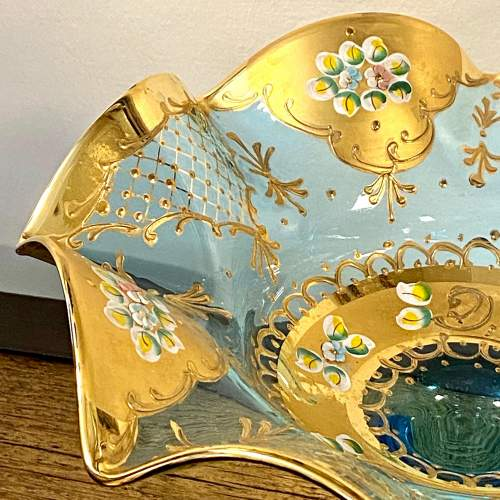 Victorian Blue Glass and Gilt Tazza image-4