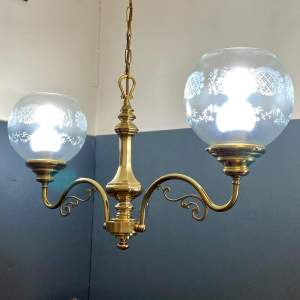 Two Arm Brass Chandelier with Glass Shades