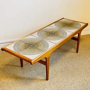 Mid Century Teak Tile Top Coffee Table