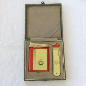 Art Deco Enamel Compact and Comb Set