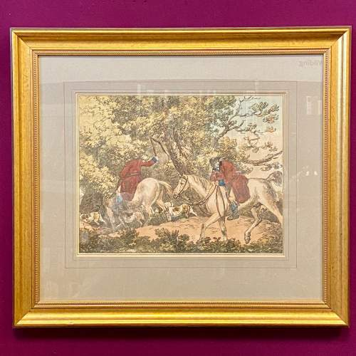 Antique Engraving of a Hunting Scene image-1