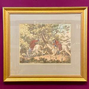 Antique Engraving of a Hunting Scene