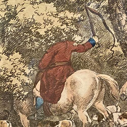 Antique Engraving of a Hunting Scene image-3