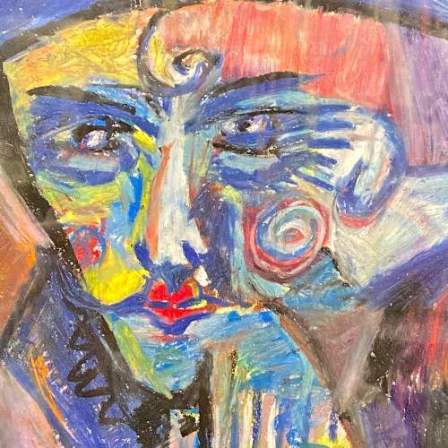 20th Century Abstract Pastel Portrait Drawing image-2