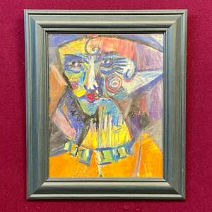 20th Century Abstract Pastel Portrait Drawing