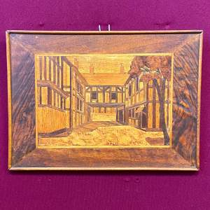 Framed Marquetry Picture of a House