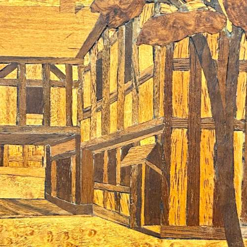 Framed Marquetry Picture of a House image-3