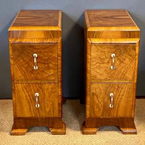 Pair of Art Deco Walnut Two Drawer Chests