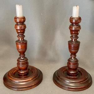 Pair of Georgian Mahogany Candlesticks
