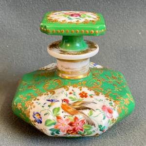 19th Century Hand-painted Ceramic Cologne Bottle