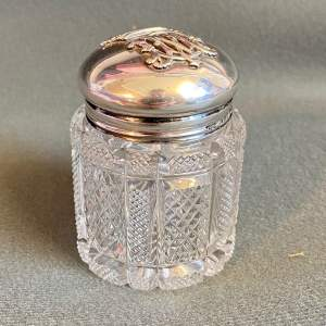 19th Century Silver Top Cut Glass Dressing Table Jar