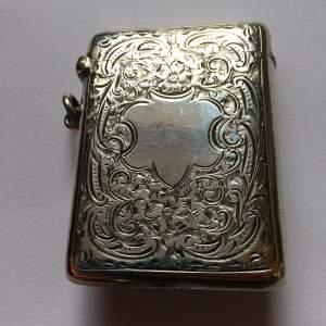 Large Victorian Silver Vesta Case