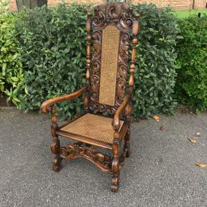 19th Century Walnut Carolean Armchair with Peacock Carving