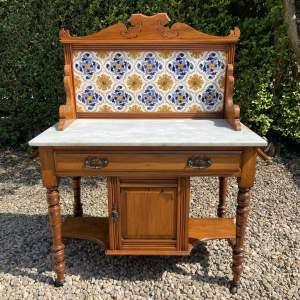 Victorian Tiled Back Satinwood Washstand