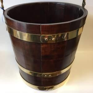 Brass Coopered Barrel Style Wooden Bucket