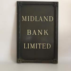 Midland Bank Limited Branch Sign Circa Late 1920s