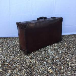 Quality Brown Leather Suitcase Circa 1930s