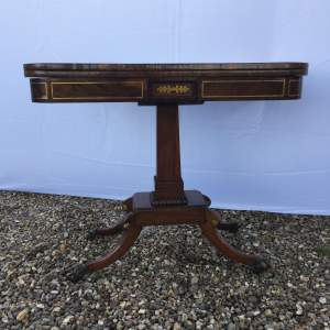 George IV Mahogany and Brass Inlaid Card Table Circa 1825