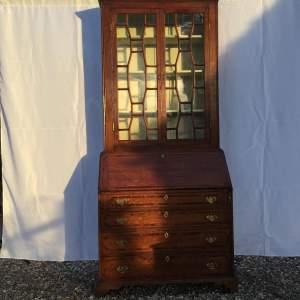 18th Century Cornish Oak Secretaire Bureau Bookcase