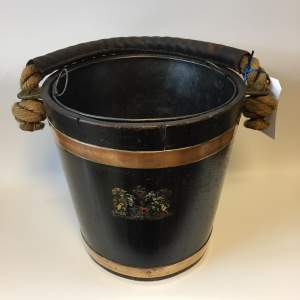 Naval Oak Fire Bucket With Royal Crest