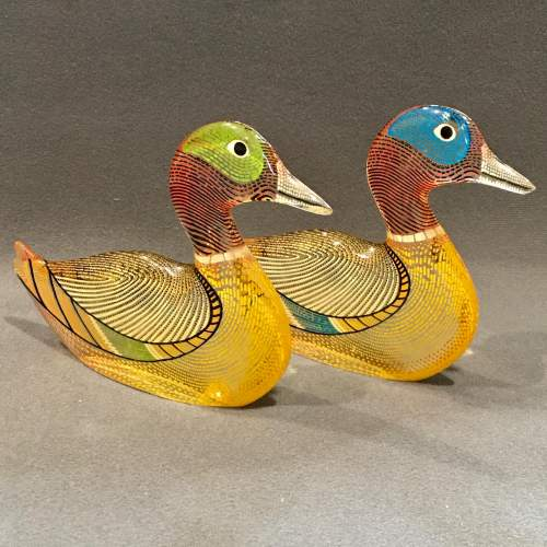 Pair of Opart Lucite Ducks by Abraham Palatnik image-1