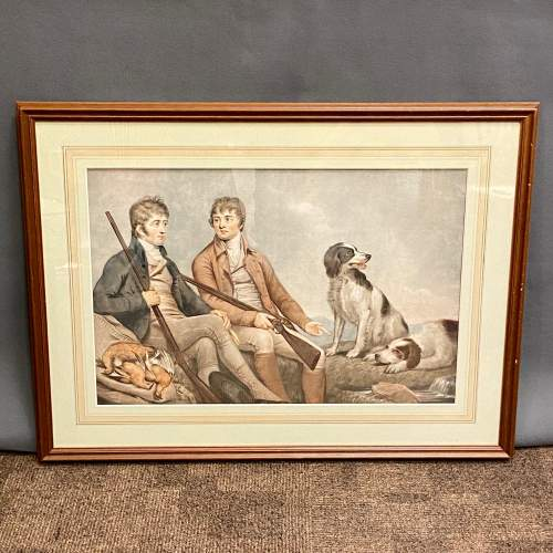 Print of Two Georgian Gentlemen with their Gun Dogs image-1
