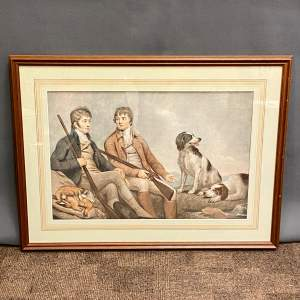 Print of Two Georgian Gentlemen with their Gun Dogs