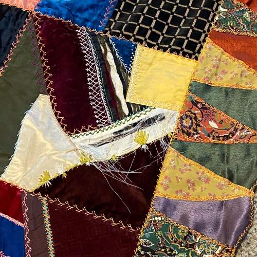 Early 20th Century Silk and Satin Heavily Embroidered Patchwork Hanging image-3