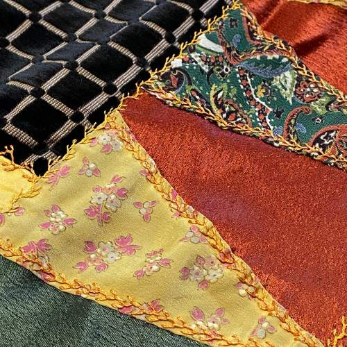 Early 20th Century Silk and Satin Heavily Embroidered Patchwork Hanging image-4