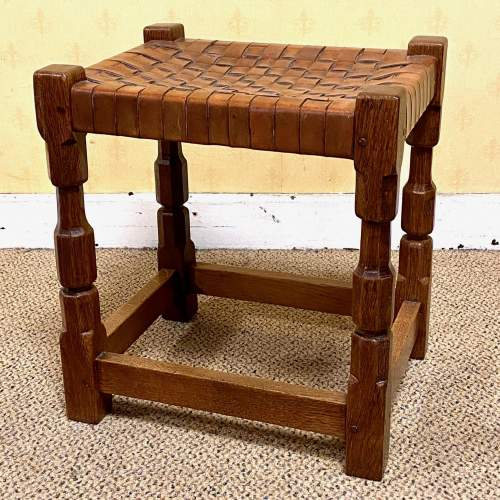 Early 20th Century Oak Stool by Arthur Simpson of Kendal image-1