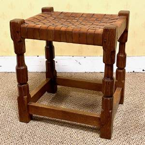 Early 20th Century Oak Stool by Arthur Simpson of Kendal