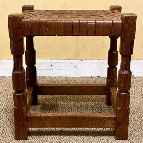 Early 20th Century Oak Stool by Arthur Simpson of Kendal image-2