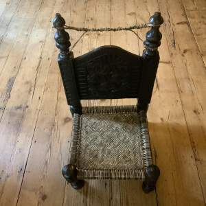 Stunning Antique Afghan Carved Low Sitting Chair Superb Carving