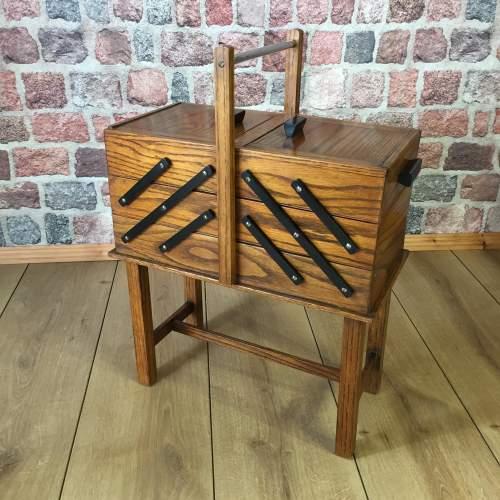 1940s Concertina Oak Sewing Box image-1