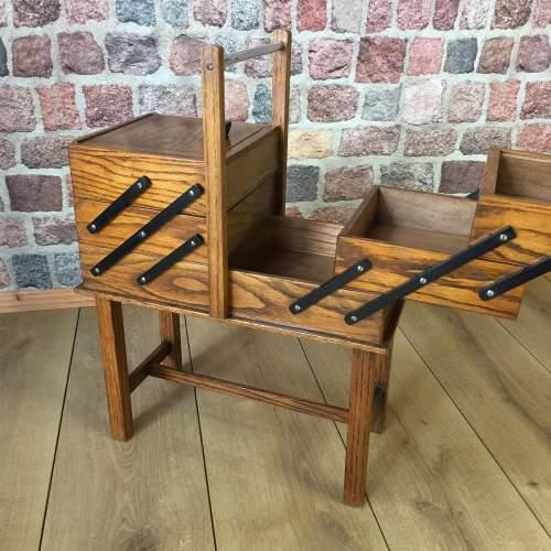 1940s Concertina Oak Sewing Box image-3