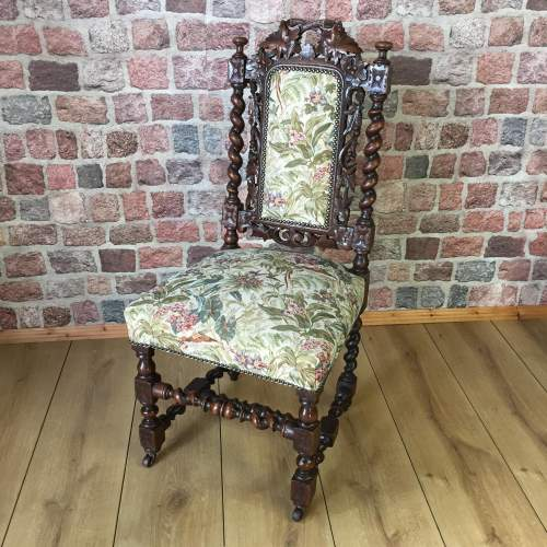Victorian Hand Carved Oak Hall or Parlour Chair image-1