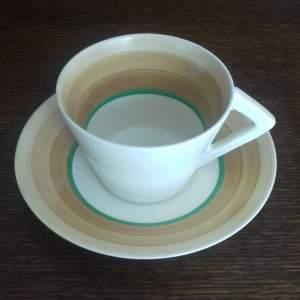 Clarice Cliff Art Deco Conical Banded Cup and Saucer