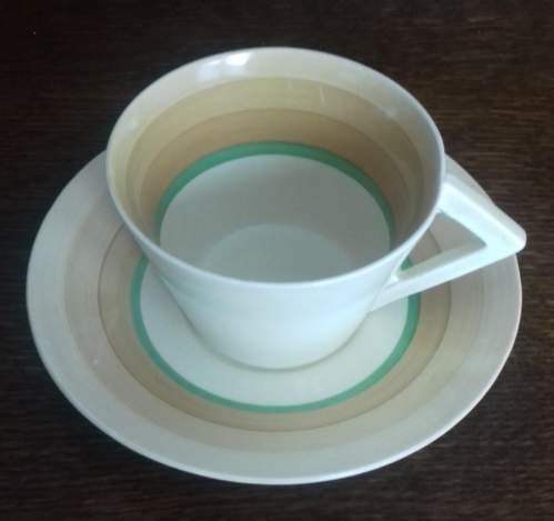 Clarice Cliff Art Deco Banded Conical Cup and Saucer image-2