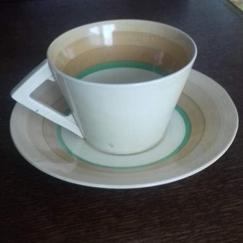 Clarice Cliff Art Deco Banded Conical Cup and Saucer image-1