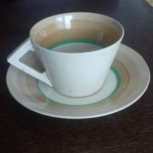 Clarice Cliff Art Deco Banded Conical Cup and Saucer